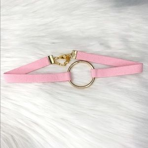 Pink Suede Cord Choker